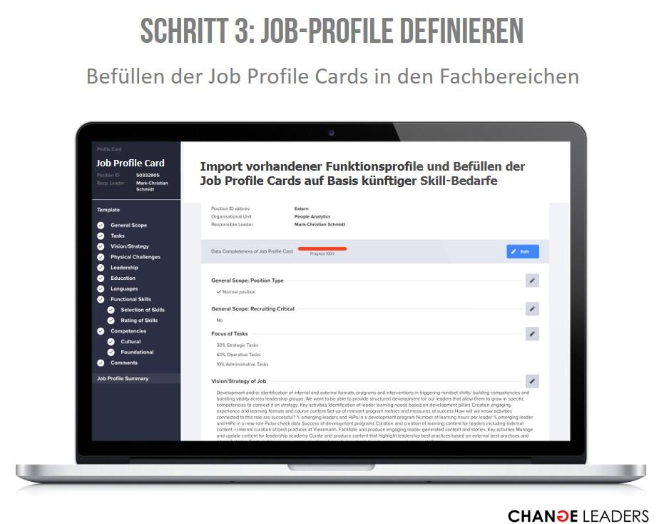 Import vorhandener Funktionsprofile (Stellenbeschreibungen) und Befüllen der Job Profile Cards auf Basis künftiger Skill-Bedarfe. Ergänzende Skill-Bibliotheken/Datenbanken sind verfügbar.